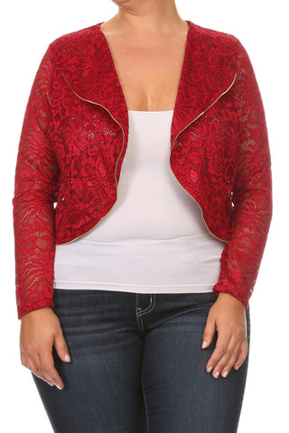 Lace Beauty Plus Size Cropped Jacket