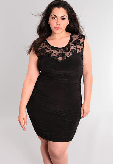 Plus Size Sexy See Through Lace Gathered Black Dress