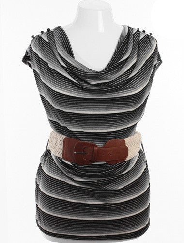 Plus Size Belted Drape Neck White And Black Striped Top