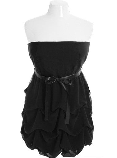 Plus Size Adorable Ruffle Bubble Skirt Black Tube Dress