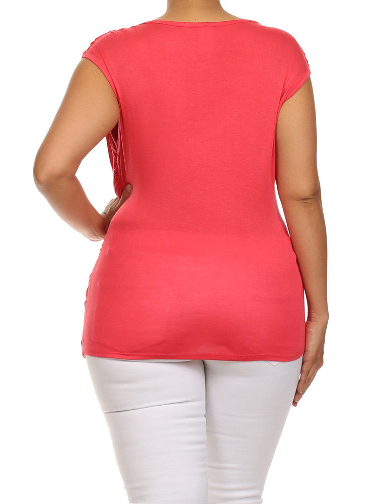 Plus Size Stylish Draped Pink Top