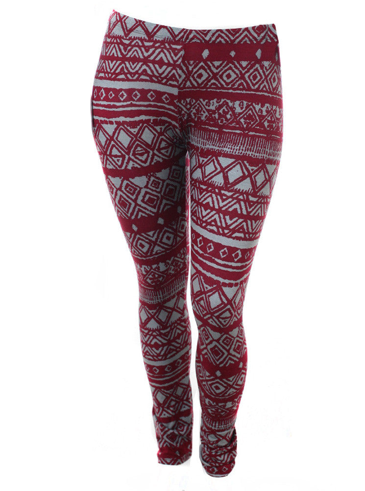 Plus Size Tribal Print Burgundy Leggings