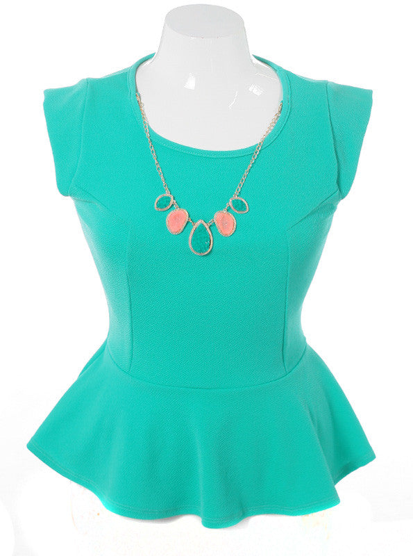 Plus Size Stone Necklace Flare Teal Top