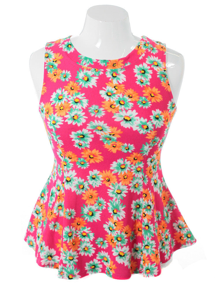 Plus Size Sleeveless Flower Pink Top