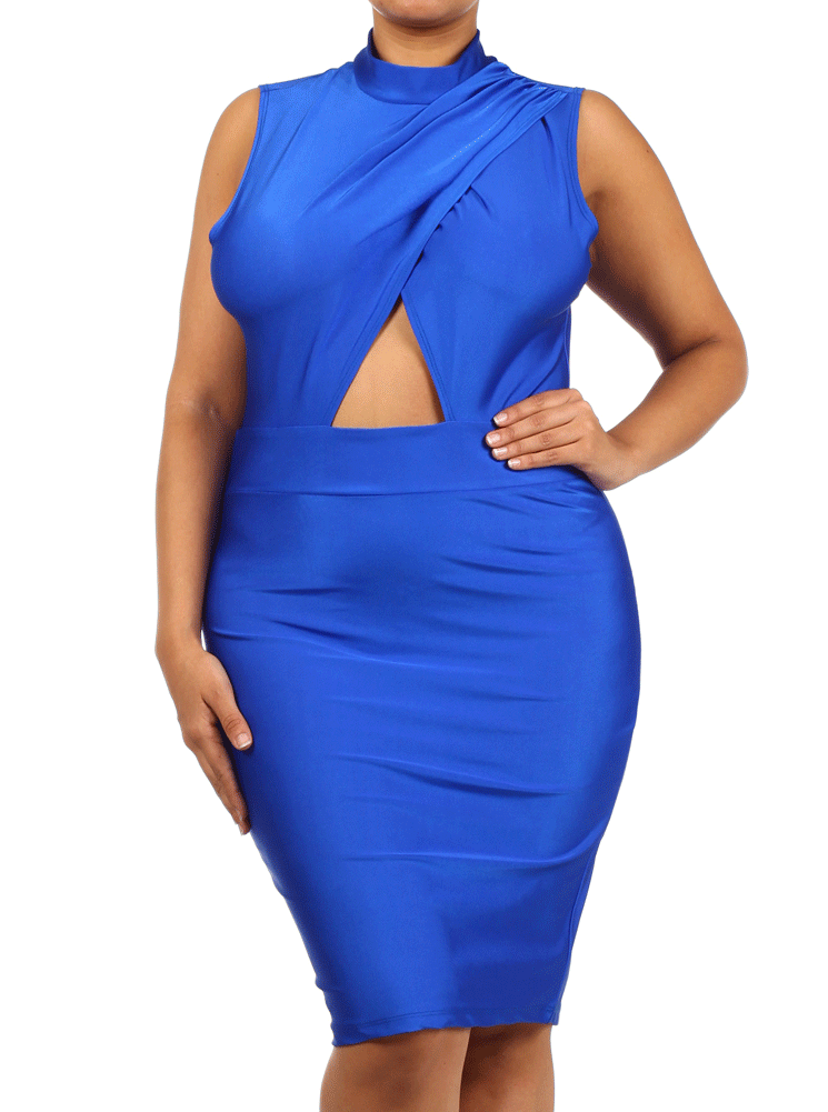 Plus Size Cross My Heart Silky Royal Blue Dress