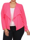 Plus Size Fashionista Drapey Open Front Pink Jacket