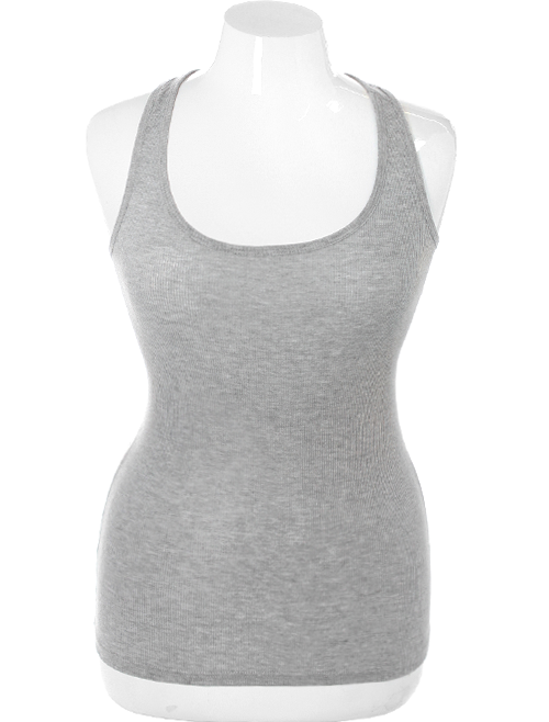 Plus Size Sexy Lace Back Grey Tank Top