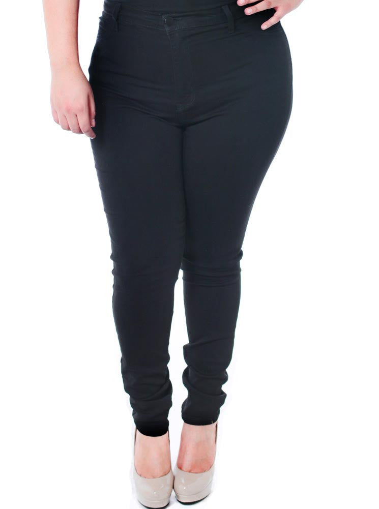 Plus Size High Waist Black Jeans