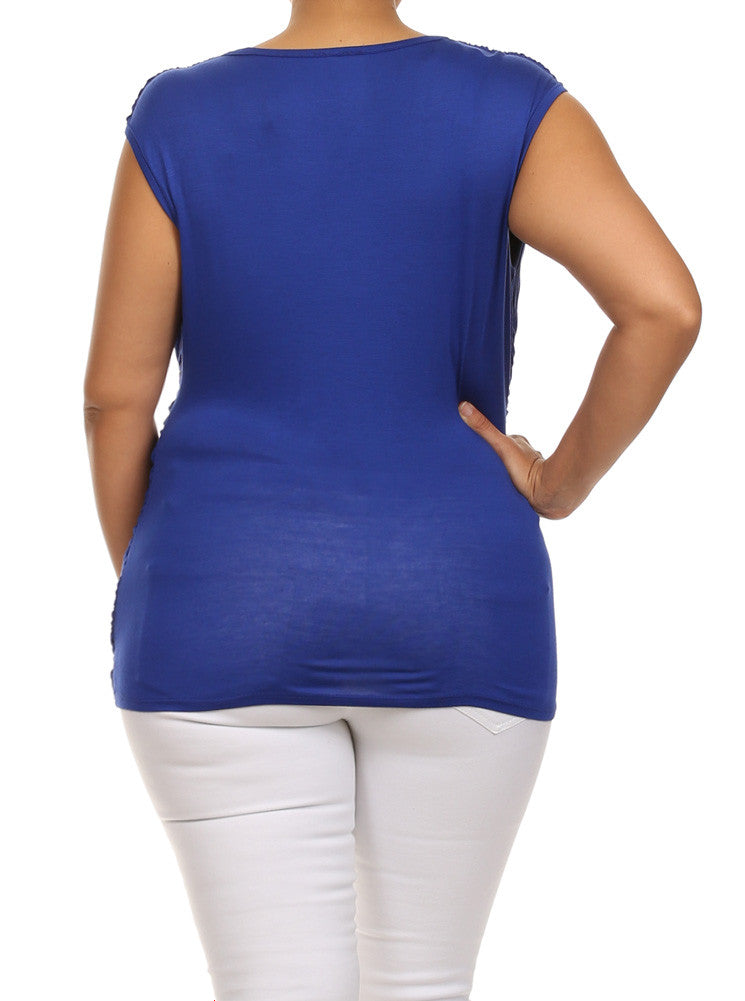 Plus Size Stylish Draped Blue Top