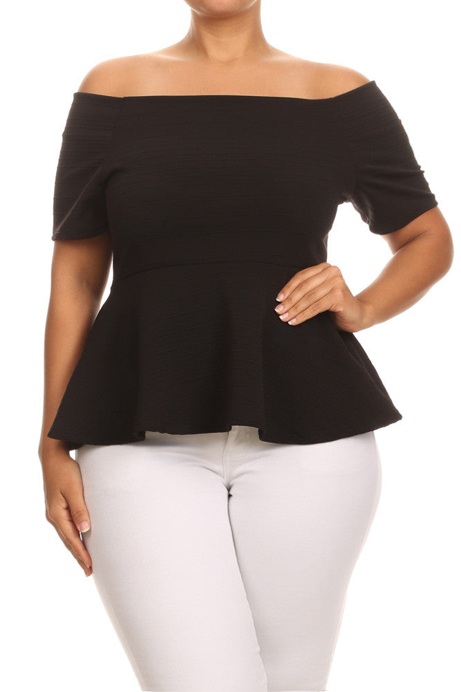 Plus Size Chelsea Ribbed Off The Shoulder Top