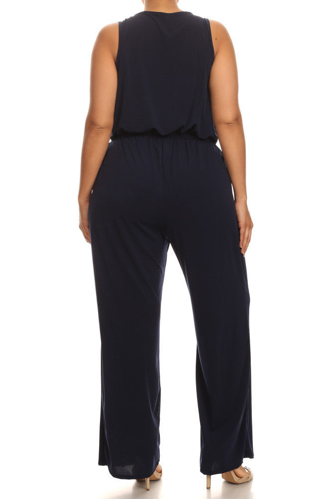 Plus Size Sleek Stunner Zipper Front Jumpsuit