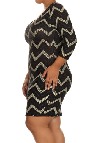 Plus Size Hottie Gold Zig Zag Bodycon Dress