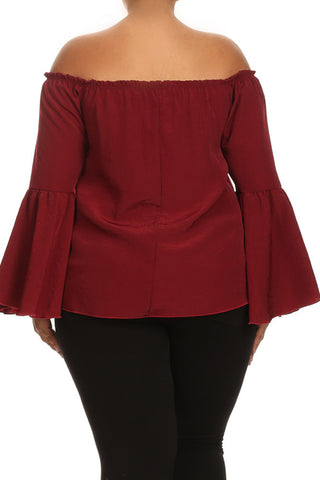 Plus Size Off Shoulder Bell Sleeves Top