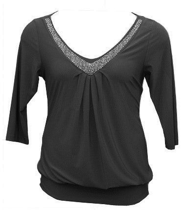 Plus Size Hot Studded Black Blouse