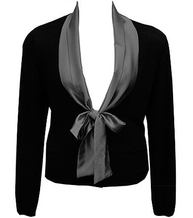 Plus Size Elegant Silky Collar Black Top