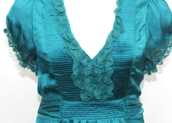 Elegant Lace Ruffled Teal top