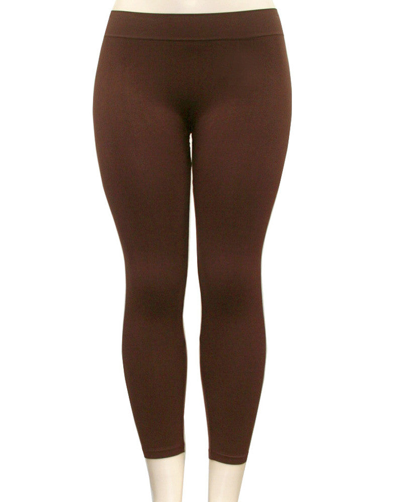 Solid Nylon Brown Leggings