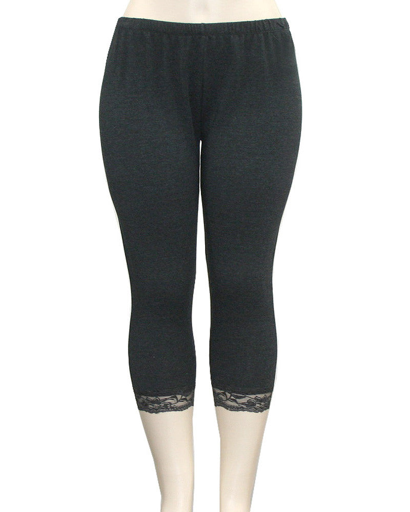 Lace Lining Charcoal Leggings
