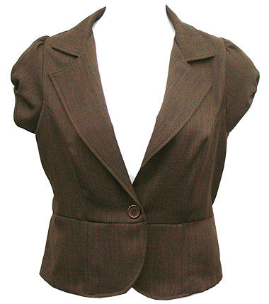 Sleeveless Brown Blazer