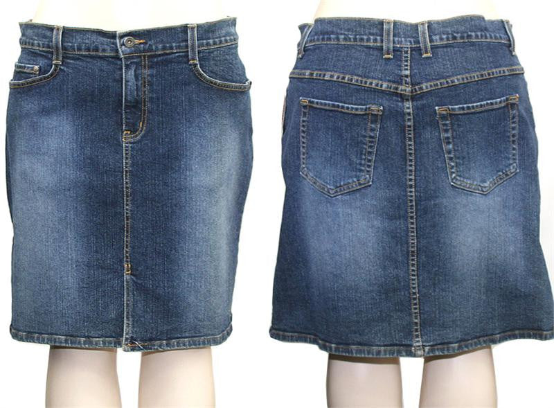Washed Trendy Denim Skirt