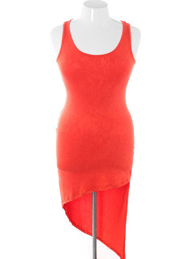 Plus Size Sexy Butterfly Back Dip Hem Orange Dress