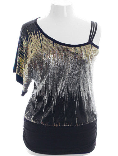 Plus Size Sparkling Gold Silver One Shoulder Top