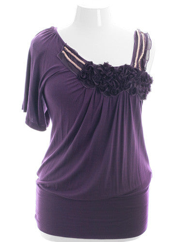 Plus Size Classic Ribbon Roses Beaded Purple Blouse