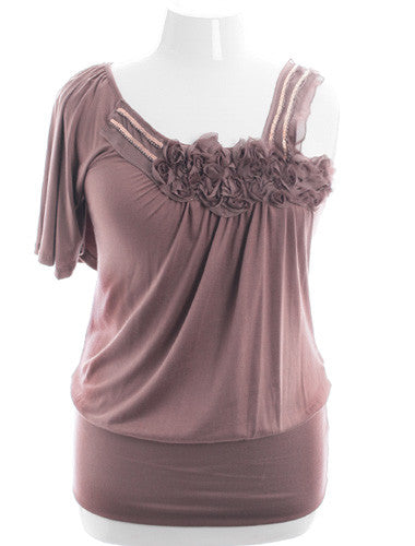 Plus Size Classic Ribbon Roses Beaded Taupe Blouse