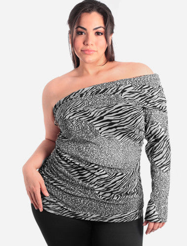 Plus Size Sexy Exotic One Sleeve Leopard Black Top