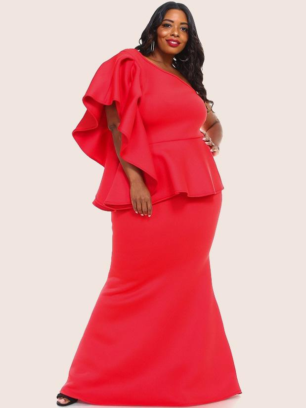 Plus Size Glam Ruffle One Shoulder Super Techno Mermaid Dress