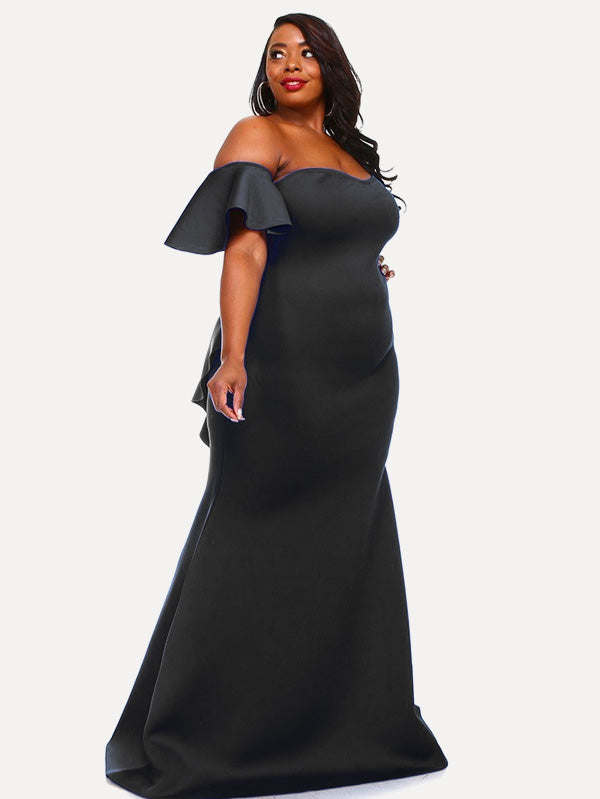 2e90a8387f4a1 Plus Size Glam Off Shoulder Tiered Mermaid Maxi Dress – Plussizefix