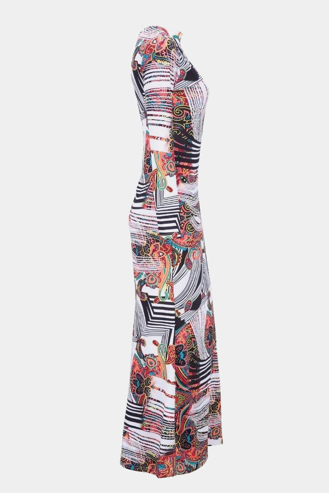 Plus Size Vibrant Abstract Long Sleeve Maxi Dress