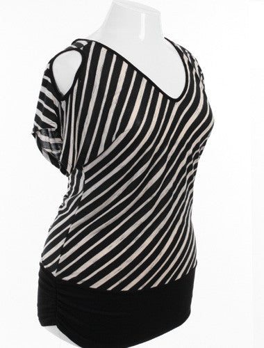 Plus Size Open Shoulder Striped Black and White Top