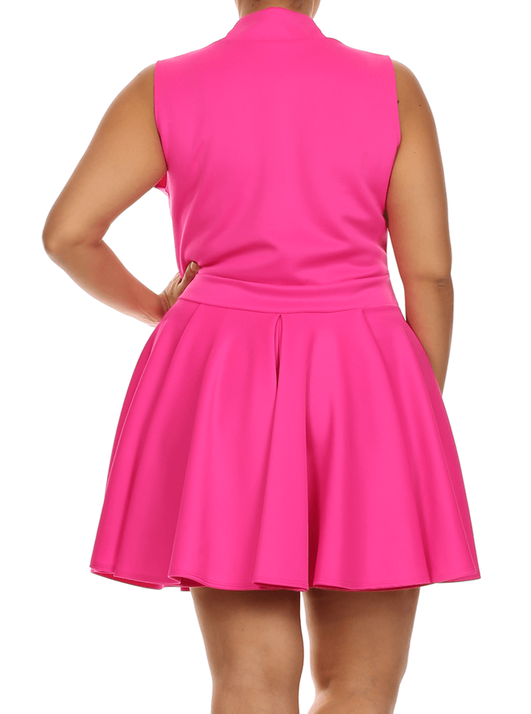 Plus Size Lively Deep V Neck Pink Skater Dress