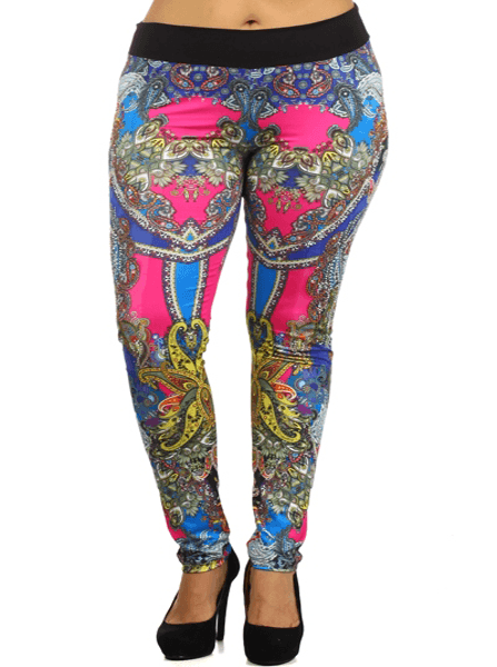 Plus Size Fabulous Abstract Pink Leggings