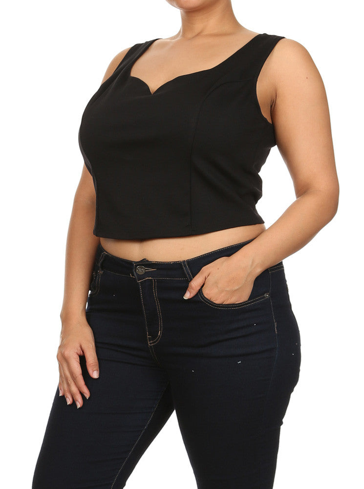 Plus Size Hot Babe Plunging Crop Top