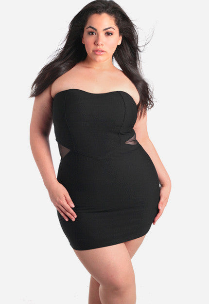 Plus Size Peep Through Mini Tube Dress
