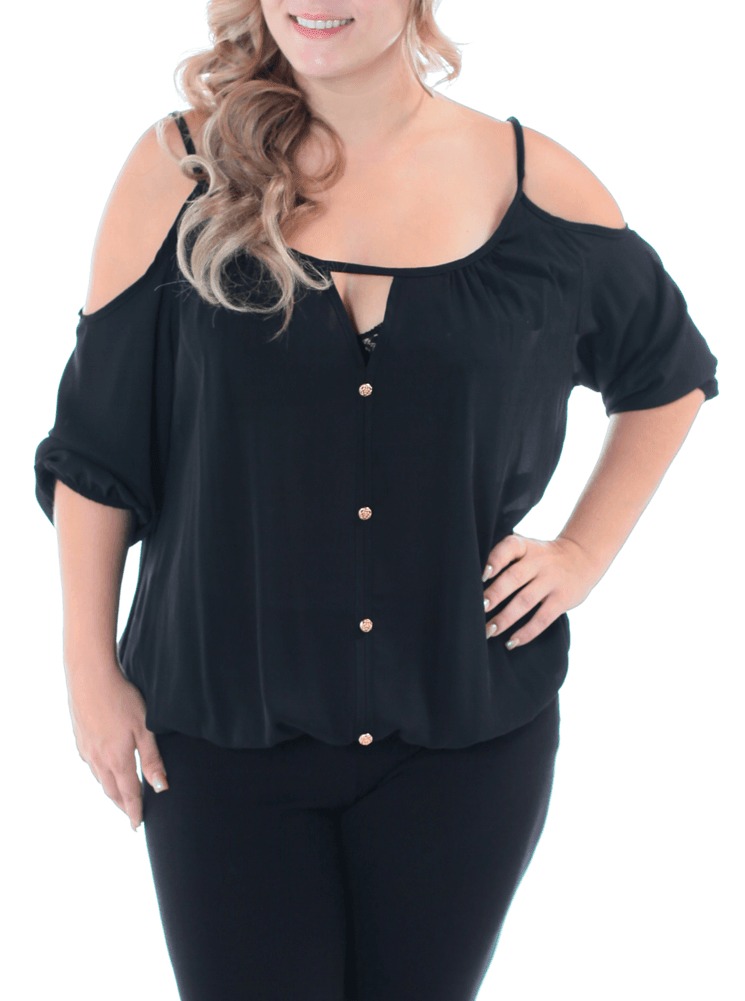 Plus Size Flirty Shoulder Cut Out Black Top