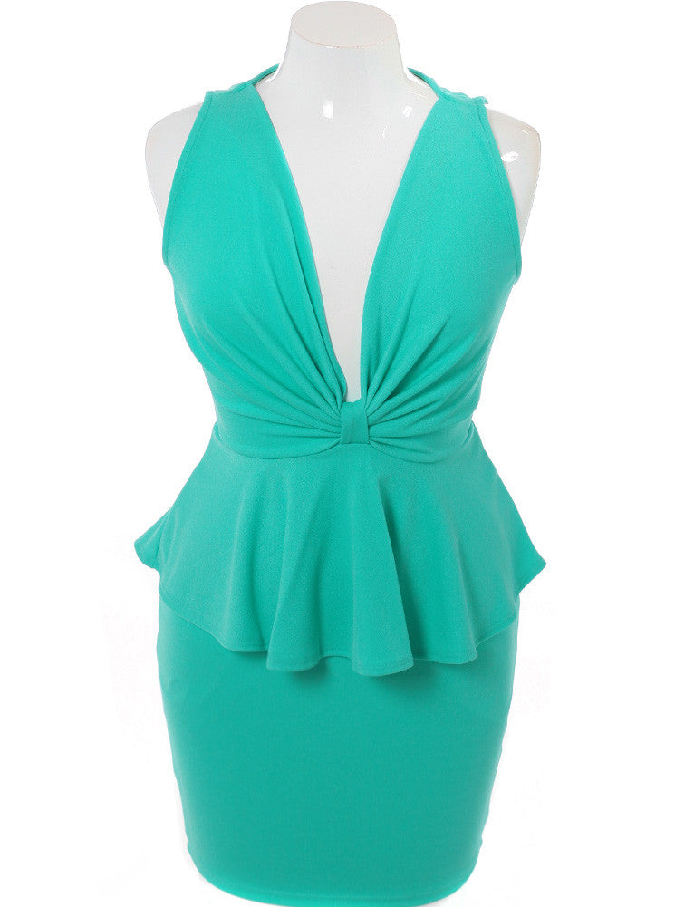 Plus Size Captivating Bow Mint Dress