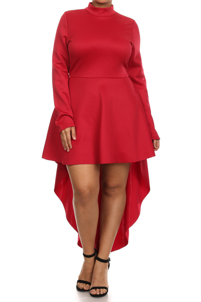 Plus Size Sexy Dip Hem Long Sleeve Dress