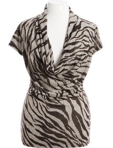 Plus Size Sexy Tiger Drape Neck Tan Top