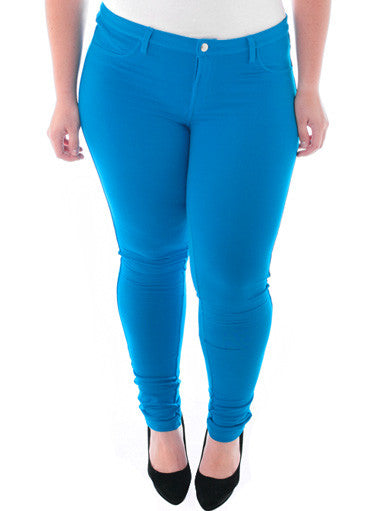 Plus Size Stretchy Soft Hot Blue Skinny Jeans