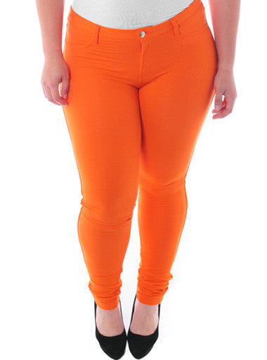 Plus Size Stretchy Soft Hot Orange Skinny Jeans