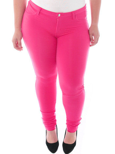 Plus Size Stretchy Soft Hot Pink Skinny Jeans