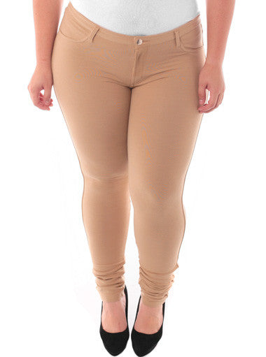 Plus Size Stretchy Soft Hot Tan Skinny Jeans