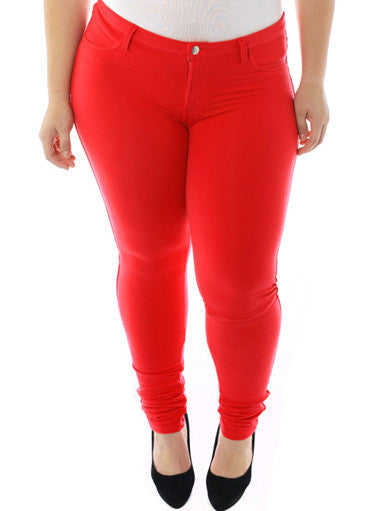 Plus Size Stretchy Soft Hot Red Skinny Jeans