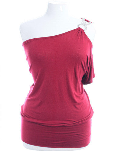 Plus Size One Shoulder Diamond Strap Pink Top