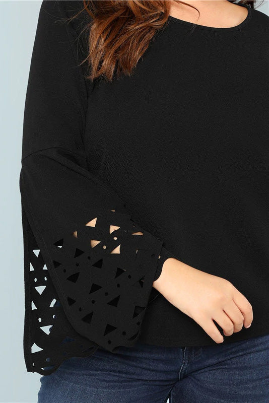 Plus Size Cut Out Flare Sleeve Long Sleeve Top