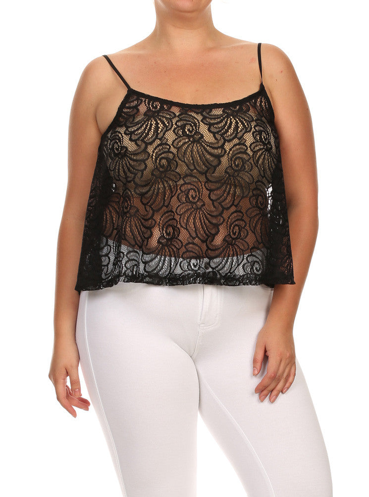 Plus Size See Through Lace Butterfly Back Black Cami