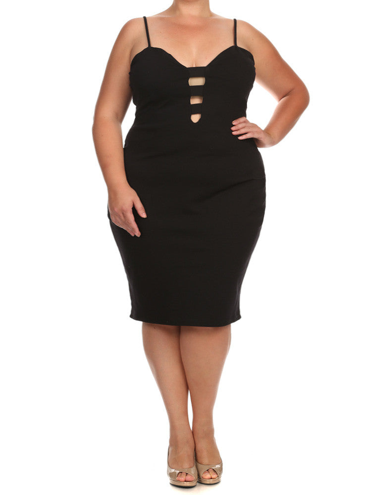 Plus Size Sweetheart Cut Out Black Dress